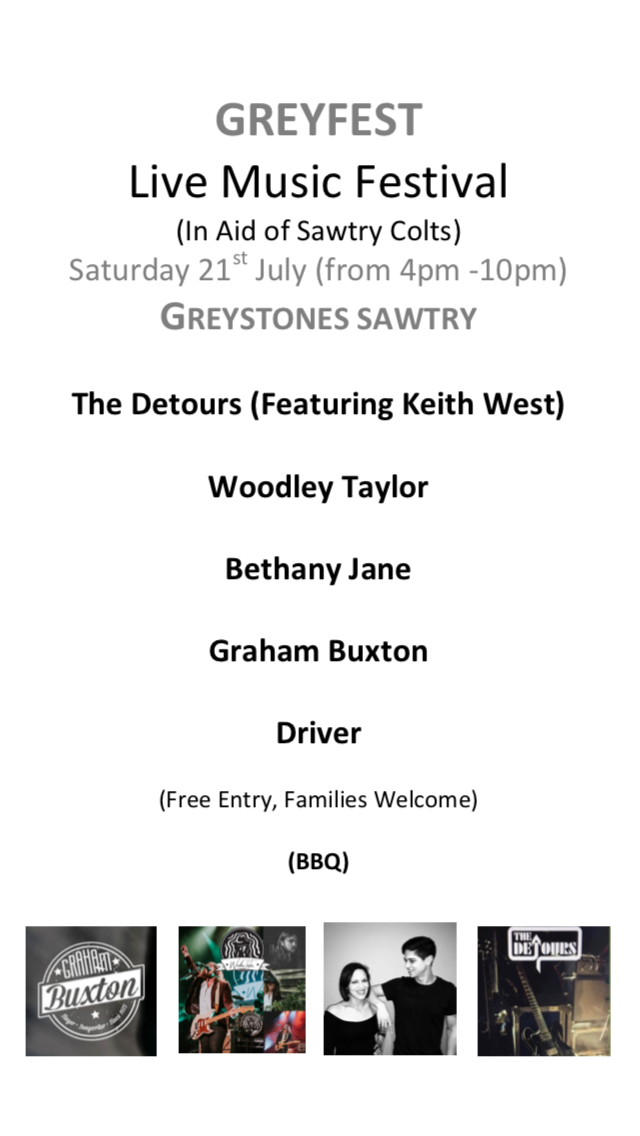 Greyfest Music Festival Saturday July 21st from 3pm