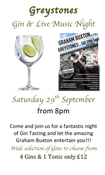 Live Music & Gin Night Saturday 29th September from 8pm