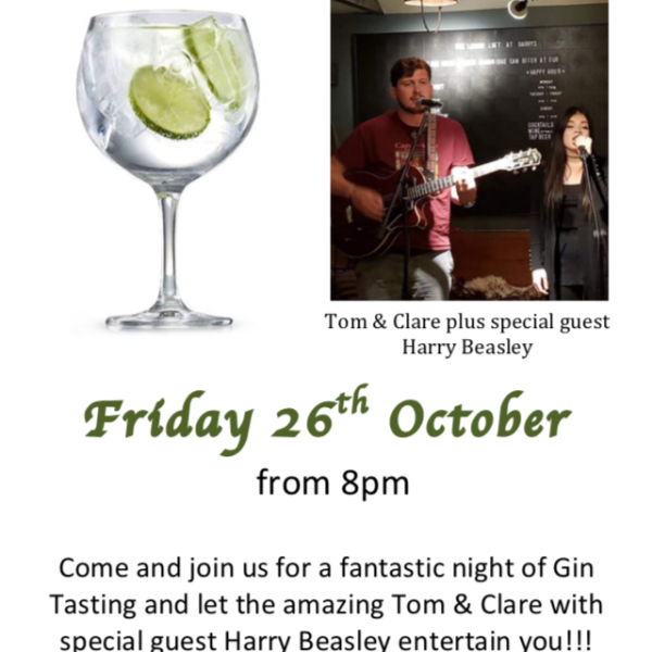 Gin & Live Music Night Friday 26th October